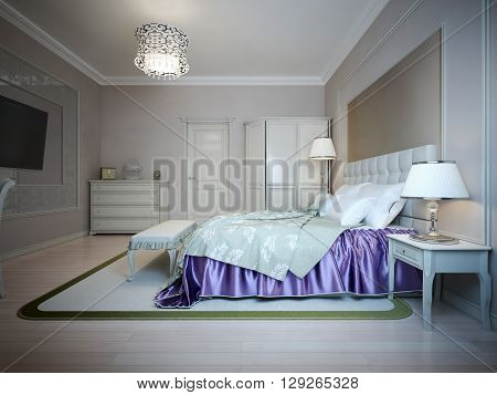 Bright interior of expensive bedroom. Bed with indigo colored blanket. 3D render