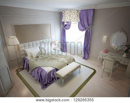 Modern bedroom in neoclassic style. 3D render