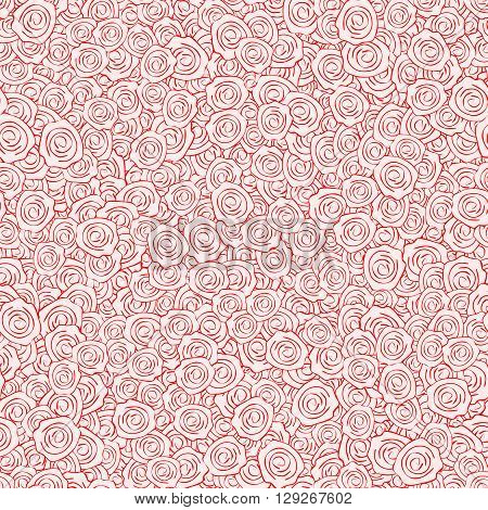 Vector Red Handdrawn Roses Seamless Pattern. Background texture with dense filling with flowers for your romantic projects wrapped paper packing and other seamless designs. Seamless pattern in swatches panel.