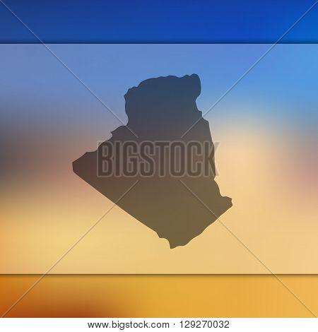 Algeria map on blurred background. Algeria vector map. Blurred background with silhouette of Algeria.