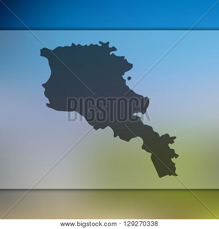 Armenia map on blurred background. Armenia vector map. Blurred background with silhouette of Armenia.