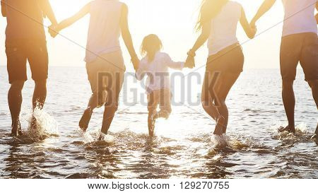 Happy friends ?elebration beach party summer. Holiday and vacation concept