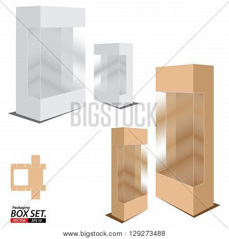 Packaging Box Design. Box set isolated on white background.