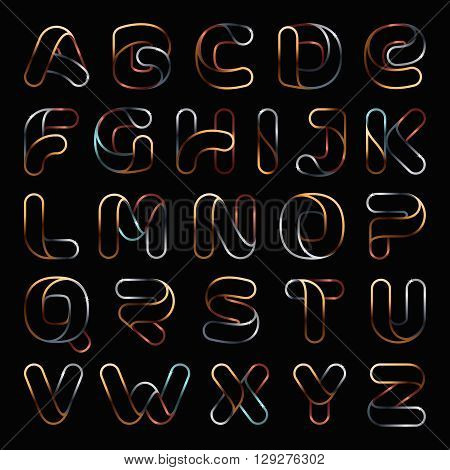 Golden One Line Letters Set.