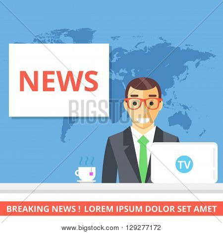 News concept. Anchorman sitting at the desk. Creative flat illustration and flat design graphic for websites, web banners, infographics, printed materials. Front view. Modern vector illustration