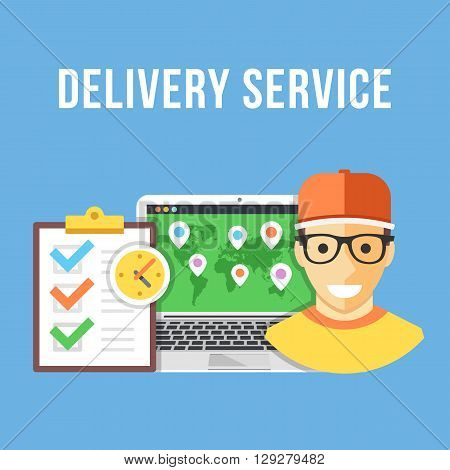 Delivery service. Delivery boy, laptop with delivery map, orders clipboard. Creative flat design for websites, web banners, infographics, printed materials. Front view. Modern vector illustration