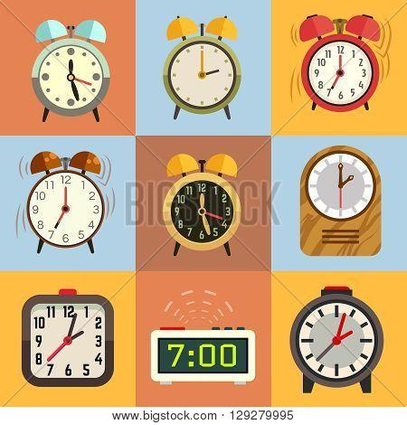 Alarm clock flat vector icons. Time clock, icon set clock, face clock illustration