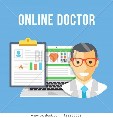 Online doctor. Doctor, laptop with patient account, clipboard with patient data and diagnosis. Creative flat design for website, web banner, infographics, printed materials. Modern vector illustration