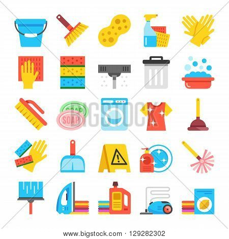 Household supplies icons set. Cleaning flat icons, material design icons set. Cleaning, washing. ironing. Graphic concept for web sites, web banner, web and mobile apps, infographics. Vector icons set