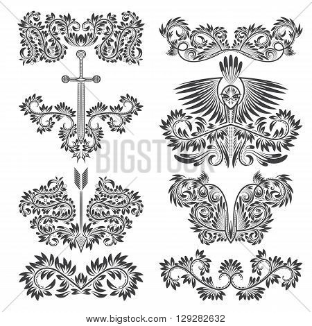 Design ornamental elements set. Floral tattoo in vintage baroque style.