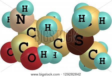 Vitamin U - S-Methylmethionine - is a derivative of methionine. 3d illustration