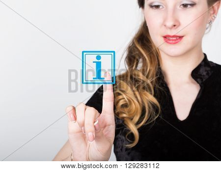 technology, internet and networking concept. beautiful woman in a black business shirt. woman presses information button on virtual screens.