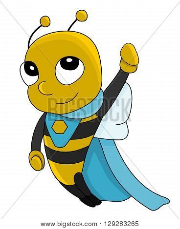 Illustration of cute little super hero bee isolated on a white backgrond