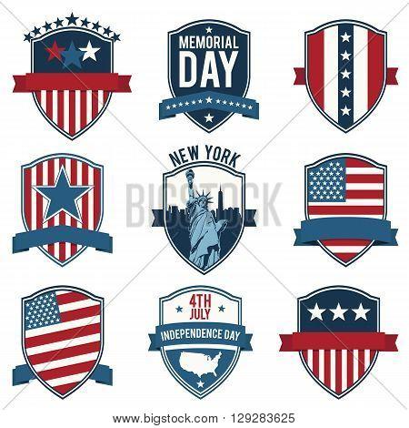 Shield. Emblem. US National symbols. Set of vector icons stamps seals banners labels logos badges. Vector illustration.