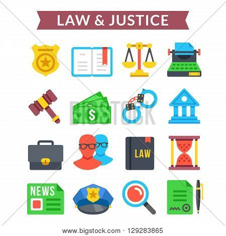 Law and justice icons set. Judicial system, court system, law, justice. Modern design colorful flat icons set for websites, web banners, mobile apps, infographics, printed materials. Vector icons set