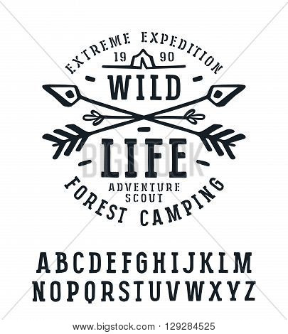 Slab serif font in the style of handmade graphics. Font design for t-shirt. Black print on white background