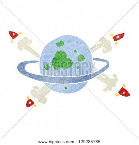freehand retro cartoon rockets leaving a planet