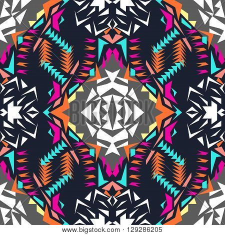 Vector seamless texture. Tribal geometric pattern. Electro boho color trend. Aztec ornamental style.