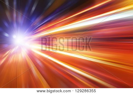 Abstract image of night lights on the road in the city.