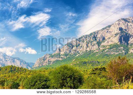 Beautiful mountain forest landscape in Kemer, Turkey