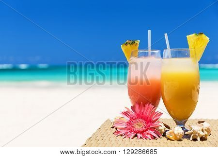 Two Tropical Fresh Juices On The Beach