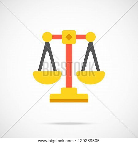 Vector justice scales icon. Modern flat design vector illustration concept for web banners, web and mobile app, web sites, printed materials, infographics. Vector icon isolated on gradient background
