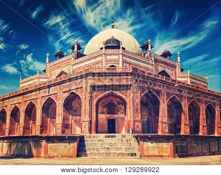 Vintage retro effect filtered hipster style image of Delhi famous tourist attraction landmark - Humayun's Tomb. Delhi, India. UNESCO World Heritage Site