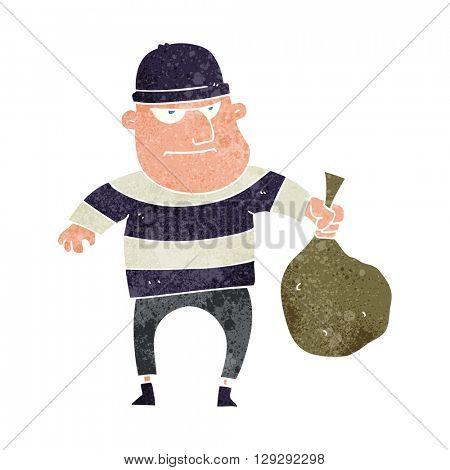 freehand retro cartoon burglar with loot bag