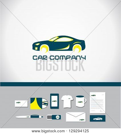 Corporate identity vector company logo icon element template car shape