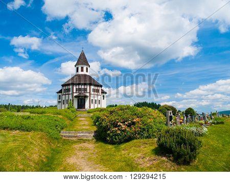 Small wooden evangelical chapel in Korenov, Jizera Mountains, Czech Republic