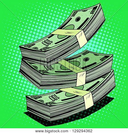 Stack of money dollar bills cash pop art retro style