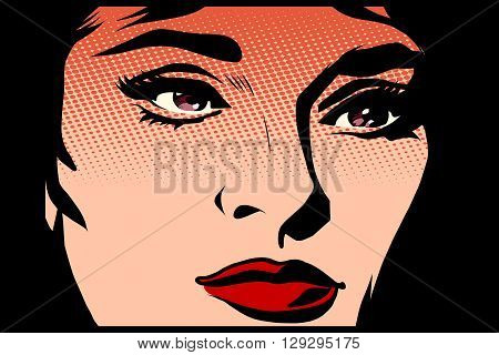 Beautiful girl face in the dark noir pop art retro style. The light and shadow. womans face vector illustration retro