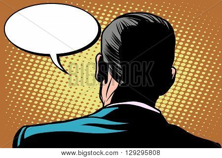 Male back comic bubble conversation communication pop art retro style. Retro male. Male back view. Stand back