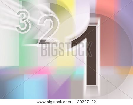 Close-up of colorful tv screen with numbers 1,2,3, 3d rednering