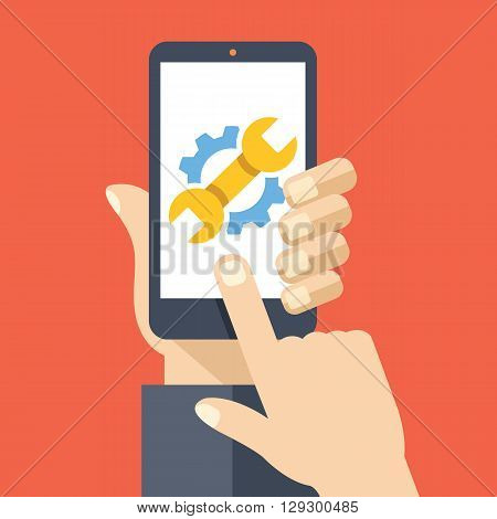 Settings on smartphone screen. User touch wrench and gear logo. Adjusting app, set options, repair, fixing phone concepts. Flat design vector illustration