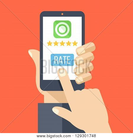 Rate our app flat concept. Hand holds smartphone with 5 stars and rate button on phone screen. Vector illustration