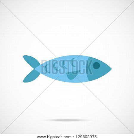 Vector fish icon. Flat design vector illustration concept for web banner, web and mobile app, infographics. Blue fish icon graphic. Isolated on trendy gradient background