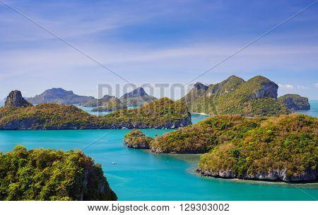 Bird eye view of Angthong national marine park koh Samui Suratthani Thailand