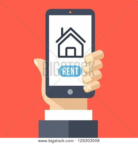 Rent house app on smartphone screen. Renting service. Hand holds smartphone with booking apartments application. Rental concept for web banners, web sites. Creative flat design vector illustration