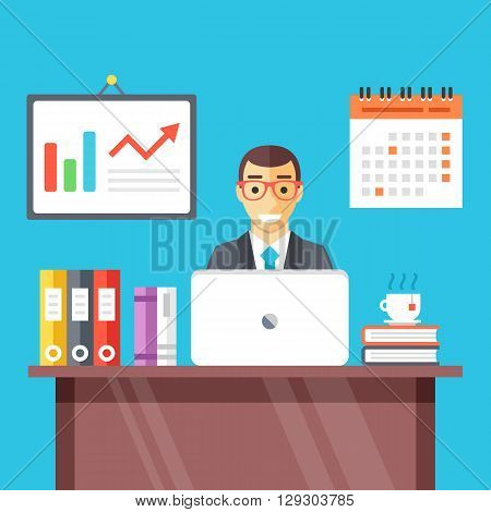 Smiling man at work in office. Set of flat icons for business workspace, workstation, office room concepts. Creative graphic design for web banners, web sites, infographics. Flat vector illustration