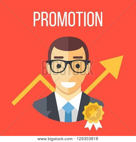Job promotion flat illustration. Career ladder, advance in office, job development, promotion at work concepts. Graphic design elements for web site, web banner, printed materials. Vector illustration
