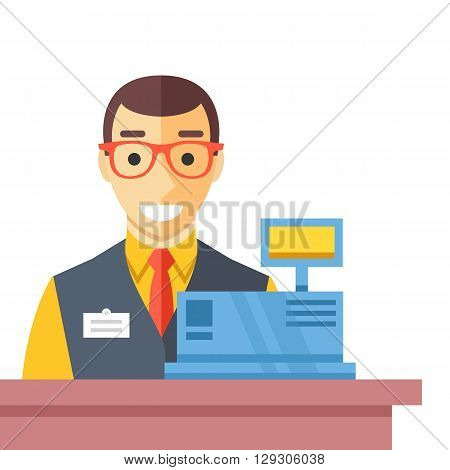 Cashier man at checkout counter. Counter desk, cash register and happy clerk. Checkout concept. Flat vector illustration
