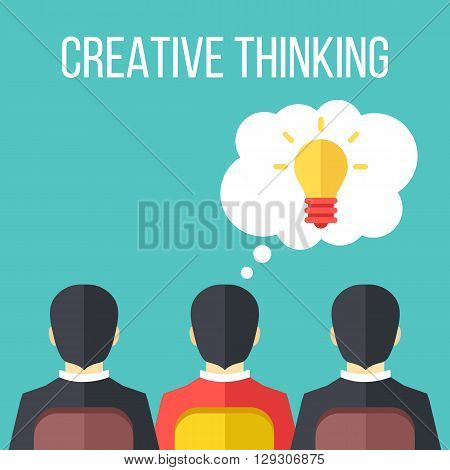 Creative thinking flat illustration. Extraordinary colorful businessman and bright light bulb in thought bubble. Creative idea concept. Vector illustration
