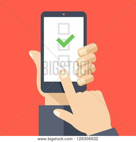 Checkboxes on smartphone screen. Hand hold smartphone, finger touch screen. Checkboxes and checkmark. Modern concept for web banners, web sites, infographics. Creative flat design vector illustration