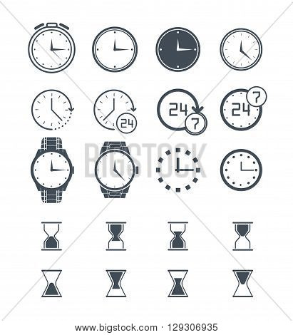 Clock icon set. Vector time icon clock icon isolated on white. Sand clock set 24h clock collection. Stopwatch clock icon. Flat clock icon. Wall clock icon. Wrist clock alarm clock icon