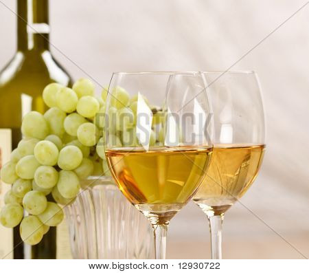 Still-life with bunch of grapes and white wine poster