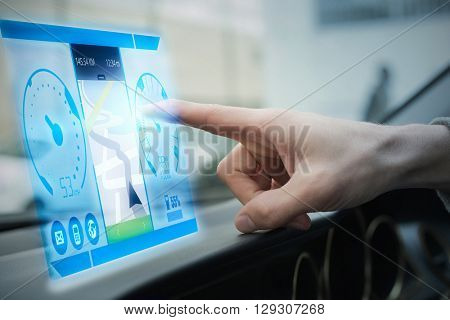 Image of a map against man using satellite navigation system