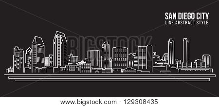 Cityscape Building Line art Vector Illustration design - San Diego city