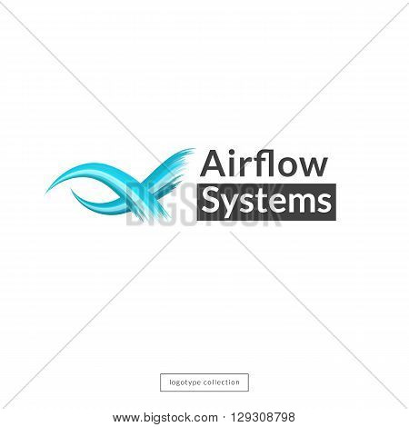 Airflow logo design template. Blue waves icon. Vector illustration.