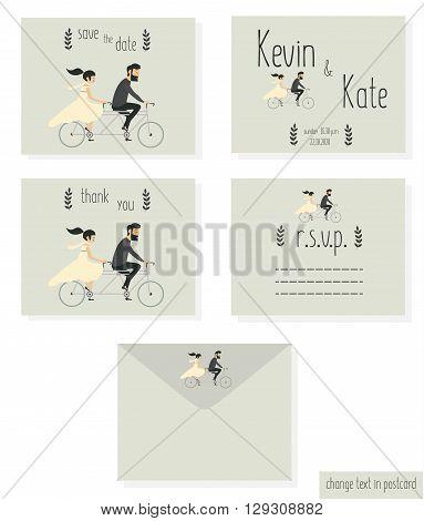 Just married wedding couple riding motobike, wedding invitation cards set